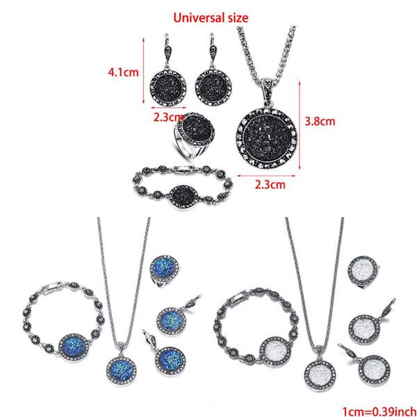 4 PCSJewelry Conjunto de anillo del pendiente del collar de la mujer y la joyería de la boda pulsera