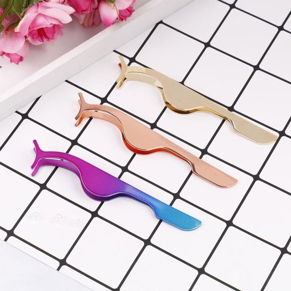 Stainless Steel False Eyelash Tweezers with colorful types popular make up tools women False eyelash adjuster beauty tool LJJQ95