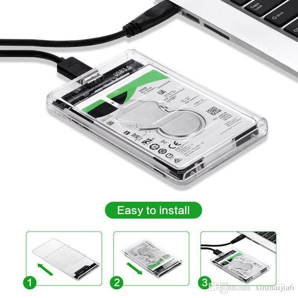 Disque dur USB 3.0 SATA Disque dur externe SSD 2,5 pouces Boîtier Boîtier Transparent