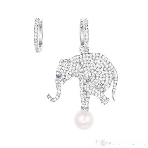 Orecchini Donna Europa e in America Charming placcato dell'oro bianco della CZ perla Elephant Orecchini per ragazze regalo Nizza Donne