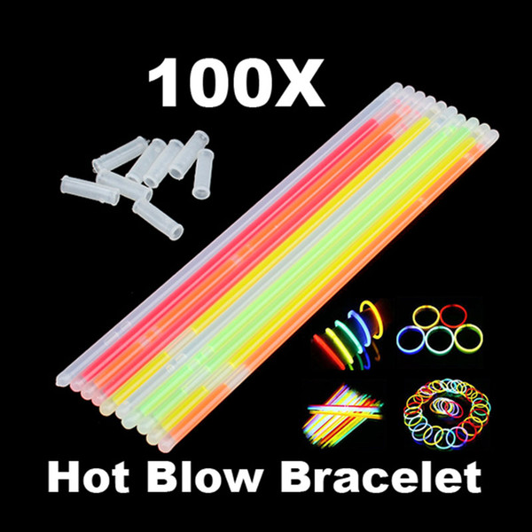 100pcs Glowstick Neon Party Fluorescent Bracelets Necklace Glow In The Dark Neon Sticks Christmas Party Supplies