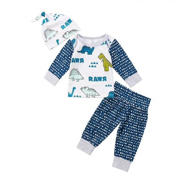 Nouveau-né bébé fille Tops T-shirt de dinosaure + PANTALON Chapeau Vêtements en coton Sets Outfit