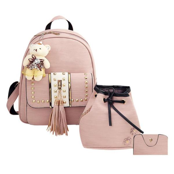 3pcs/set Tassel Bear Backpack for Teenager Girls Women Backpack Female Student School Bag Rucksack Women PU Leather Backpack
