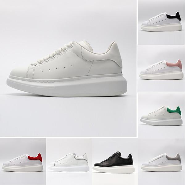 Alexander McQueen Nuevo ACE negro blanco marca de moda zapatos de diseñador de cuero genuino para mujeres hombres niñas negro oro rojo gris cómodo zapatilla plana 36-44