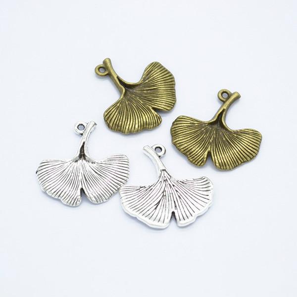 80pcs / pack Ginkgo Biloba dei monili di fascini DIY che fanno i braccialetti del pendente misura le collane orecchini fatti a mano Mestieri d'argento di fascino del bronzo