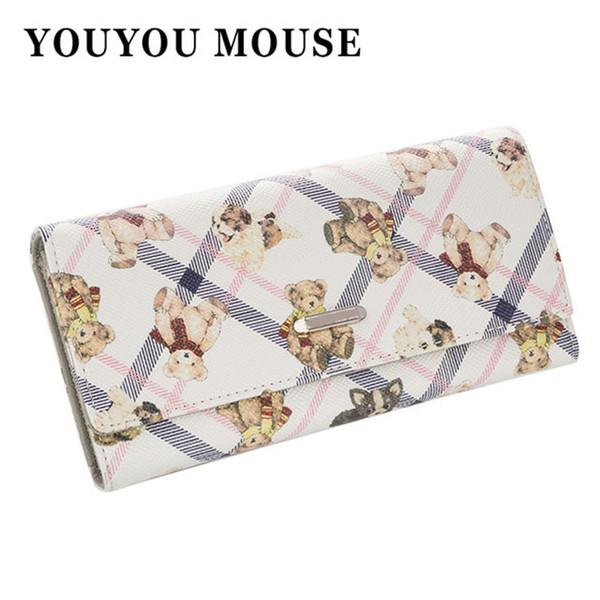YOUYOU MOUSE Fashion Cartoon Women's Wallet Lovely Bear Pattern Long Money Purse 3 Fold Ladies Wallet PU Leather Card Holder