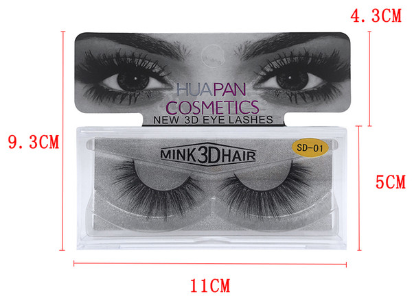 top popular New Brand HUAPAN 3D Mink Eyelashes Eyelashes Messy Eye Lash Extension Sexy Eyelash Full Strip Eye Lashes DHL 2020
