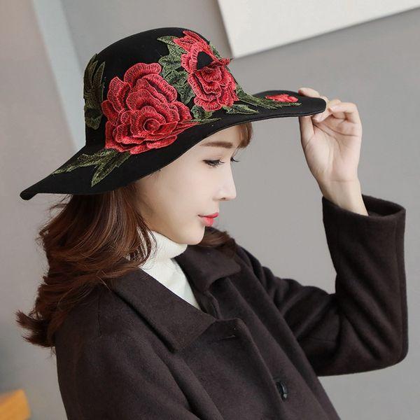 Cool Looking Outldoor Hat Womens Wide Brim Hats Ladies Sun Hats Custom Made Hats Embroidery Flower Designer Hat for women Cool Brim Headwear