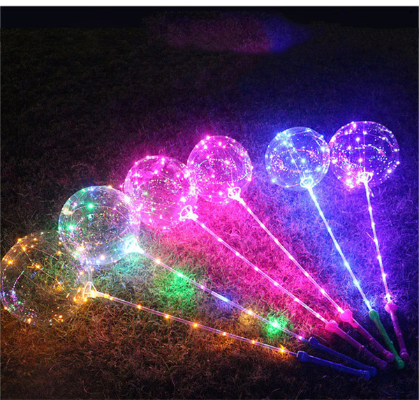 LED Luminous LED Bobo Balloon Flashing Light Up Transparent Balloons 3M String Lights with Hand Grip For Brithday Party Wedding Decorations