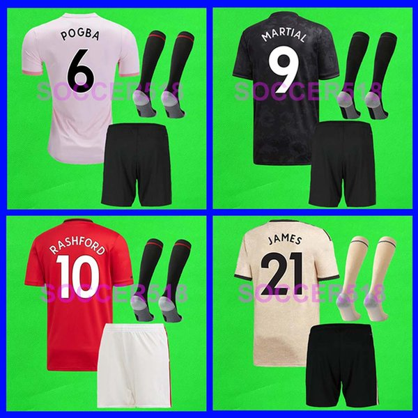 Team order 2019 2020 Manchester RASHFORD JAMES MARTIAL LINGARD United POGBA UTD MAGUIRE kids football shirts uniform soccer Jerseys kits set
