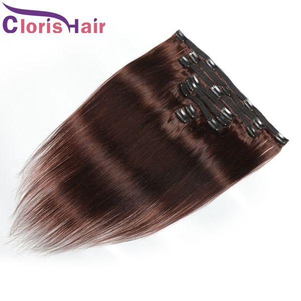 La pleine tête 8pcs Brown foncé Barrette Extension Silky droite Double machine Trame clip Ins # 4 Malaisienne humain clip cheveux Extensions