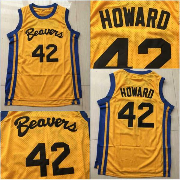 Teen Wolf Scott Uomo Howard Yellow # 42 Beacon Beavers Basket Jersey Uomo cucito Spedizione rapida taglia S-XXL