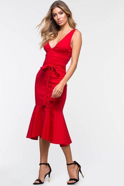 Casual Wild Women's Dress Skirt Sexy Deep V-neck Open Back Fishtail Temperament Bag Hip Sleeveless Dress jooyoo
