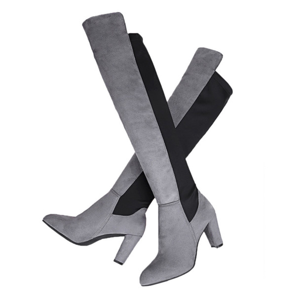 Winter Side Zipper Boots Round Elastic Over-knee Long Wear Resistant Heels
