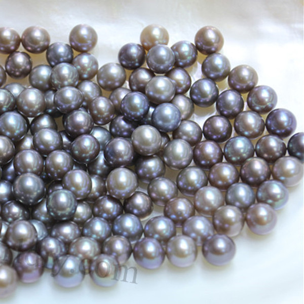 JNMM 20Pcs/Lot 6-8mm Round Gray Great Grade Freshwater Loose Pearl Beads Mixed Color for Women Jewelry Making Gift