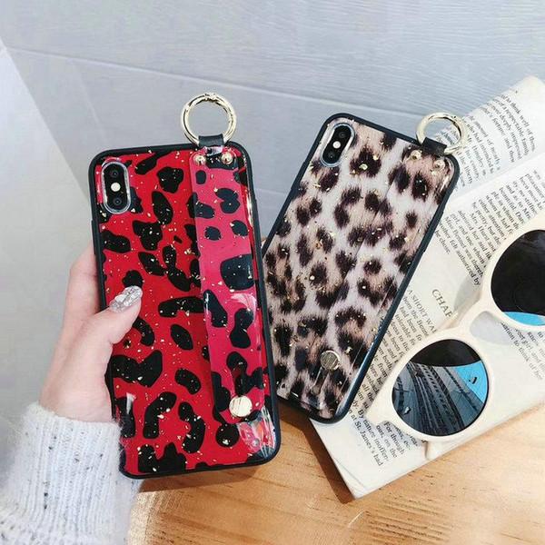 Seksi leopar iphone x xs max xr için mobil kabuk el kayışı ve anahtarlık ile iphone 6 6 artı 7 7 artı 8 8 artı koruyucu kılıf