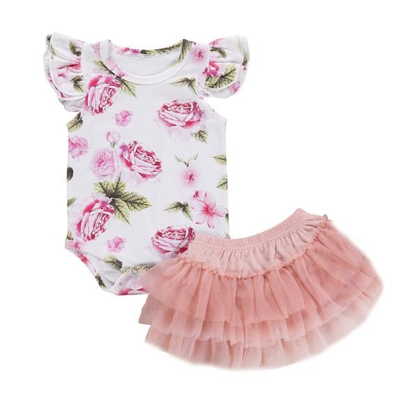 Nouveau-né Bébés filles Ensemble vêtements en coton imprimé fleurs d'été à manches volantées Romper + Robe Ensembles Vêtements de bébé fille