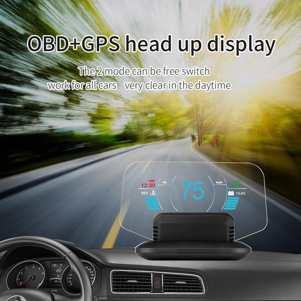 C1 Espelho Hud cabeça Up Display Auto Hud Obd2 + Gps Car velocidade Projector Velocímetro Detector Car Kmh Kpm Acessórios
