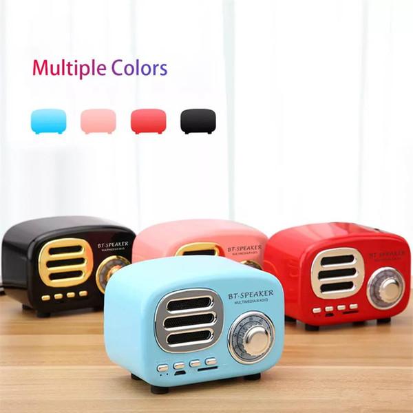 Retail HiFi Retro Wireless Bluetooth Speakers Radio BT02 Retro Cute Mini Bass With TF Card Interface Bluetooth V4.2 Speaker Innovative Gift