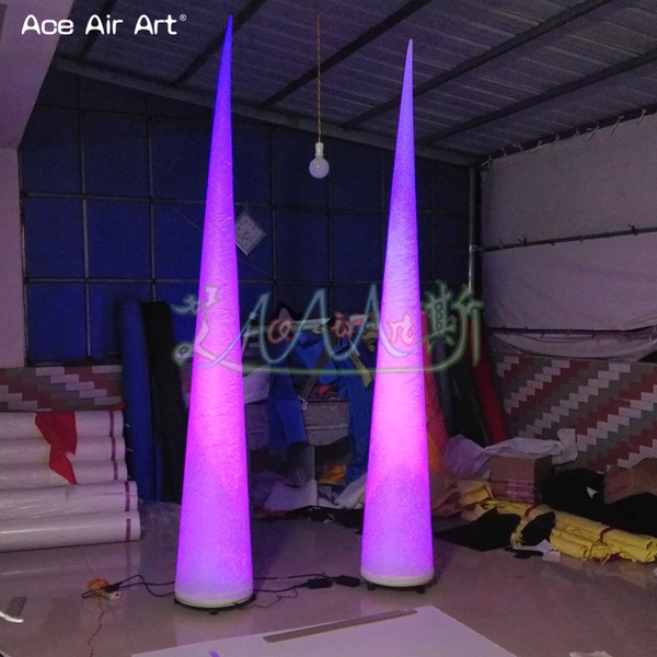 3m High Lighting Inflatable Cone/ Air Cone For Wedding party air column with color changeable led light for stage decoration