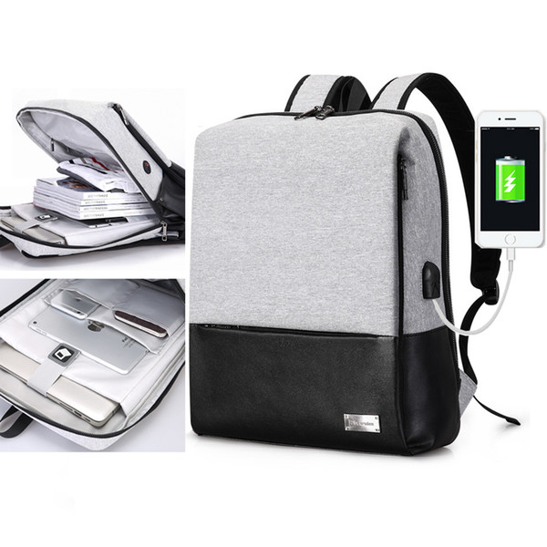 Casual Nylon Backpack Men's Multifunction Usb Charging Business Computer Backpack College Student Laptop Backpack 15.6inch