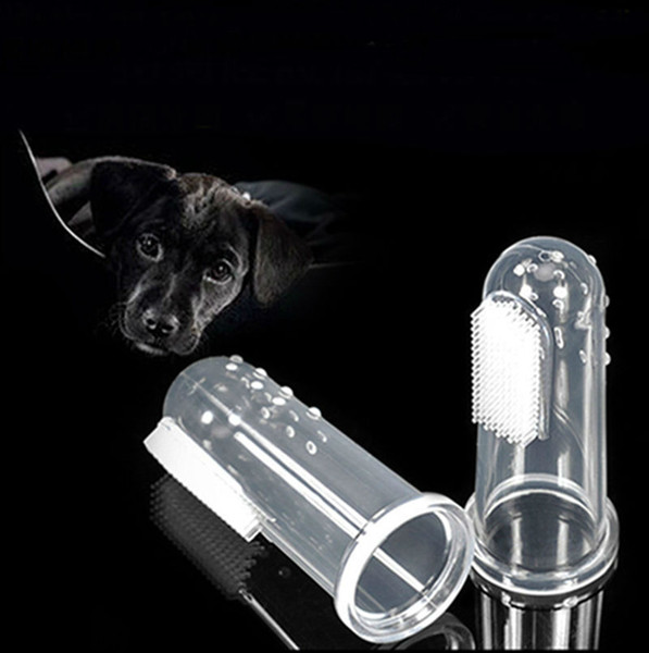 top popular transparent clear silicone finger toothbrush for dogs baby teeth care toothbrush cleaning brush Finger Toothbrush for Baby 2020