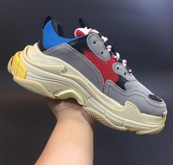 2019 Size 36-45 Fashion Paris 17FW Triple S Sneaker Beige White Black Pink Triple-S Casual Dad Shoes For Men's Women Designer Sports Sneaker
