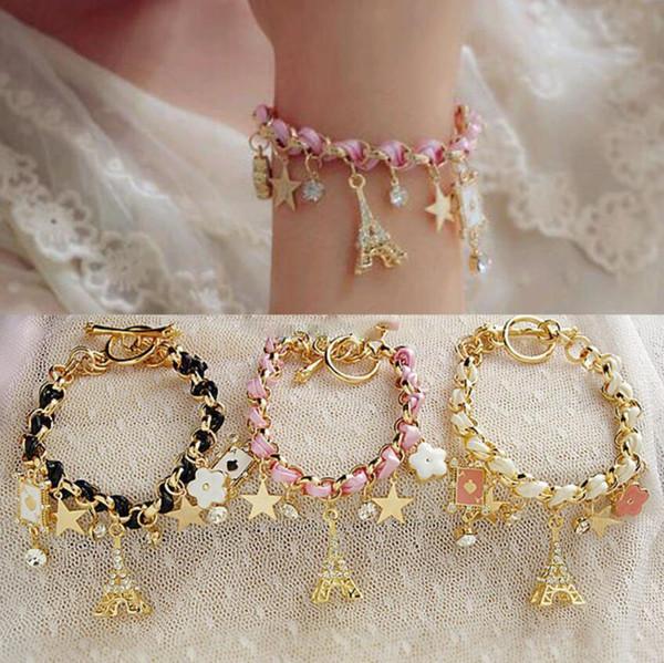 Nouveau mode Braid cuir Tour Eiffel strass cristal étoile en cuir Charm Bracelets Bracelets de cheville pour les femmes Livraison gratuite dames cadeau