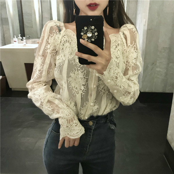 Women Blouse Woman Tops Collar Hook Slash Neck Mesh Pearls Strapless Lace Bottoming Shirt Stitching Blouse Single Breasted Tops