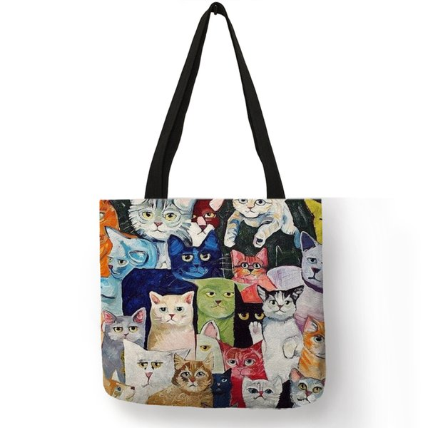 Design Cute Kawaii Cartoon Anime Cat Print Linen Tote Bag Women Fashion Handbags School Travel Shopping Shoulder Bags Reusable
