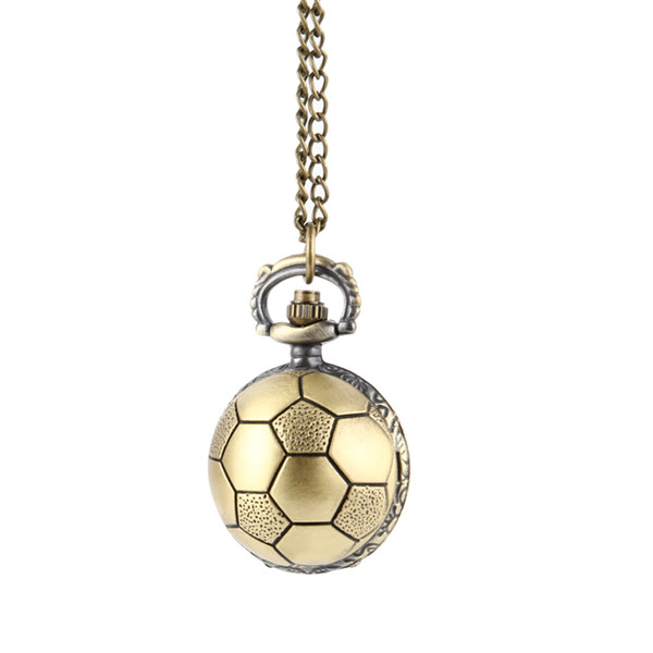 Retro Soccer Ball Shape Bronze Round Quartz Pocket Watch with Chain Necklace Jewelry Gifts FDC99