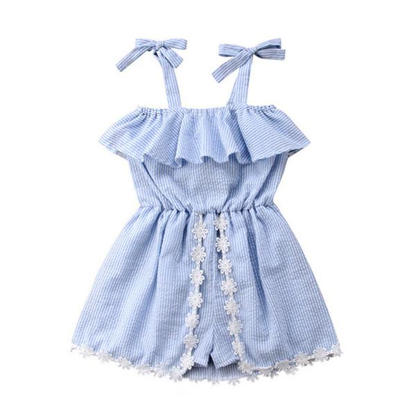Filles d'été robe rayée jupe sans manches dentelle jupe bowknot fleur bébé barboteuse jumpsuit pantalon jupe princesse robe fille vêtements