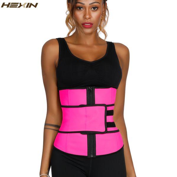 HEXIN Pink Latex Waist Trainer with Slimming Belt Girdles Firm Control Plus Size Body Shaper Zip Shapewear Fajas Colombianas