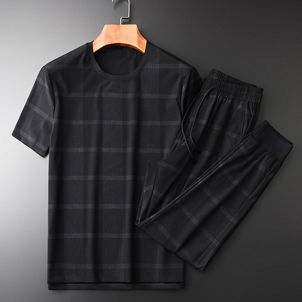 Minglu Summer Mens Sets (t-shirt + pantaloni) Luxury Plaid Fabric manica corta Man Sets Plus Size 3xl 4xl Casual Sport Uomo Slim