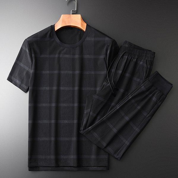 Ensembles d'été pour hommes Minglu (t-shirt + pantalon) Ensembles de luxe à carreaux en tissu à manches courtes homme Ensembles Plus la taille 3xl 4xl Casual Sport Slim Man