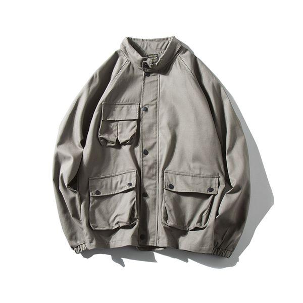 Wash Vintage Cargo Pocket Turn Down Collar Button Up Grey Army Green Men Jacket Windbreaker