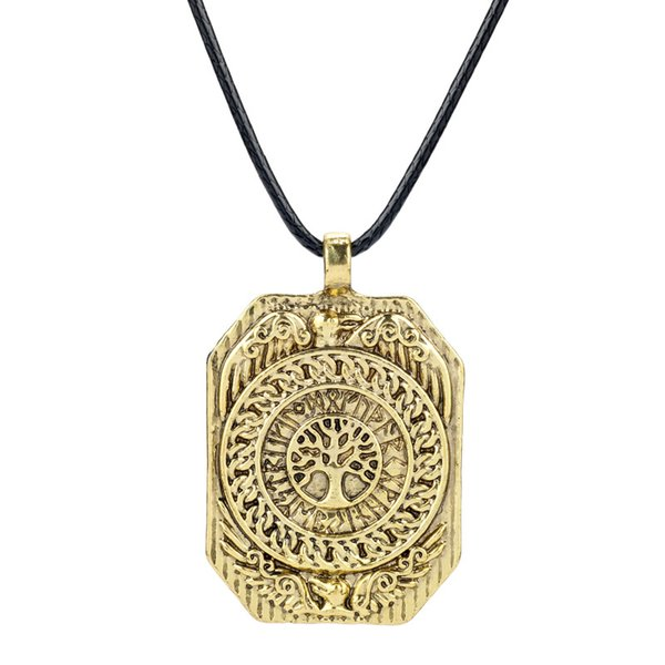 Viking Rectangular tree of life necklace crow Necklaces With rope chain for women Men