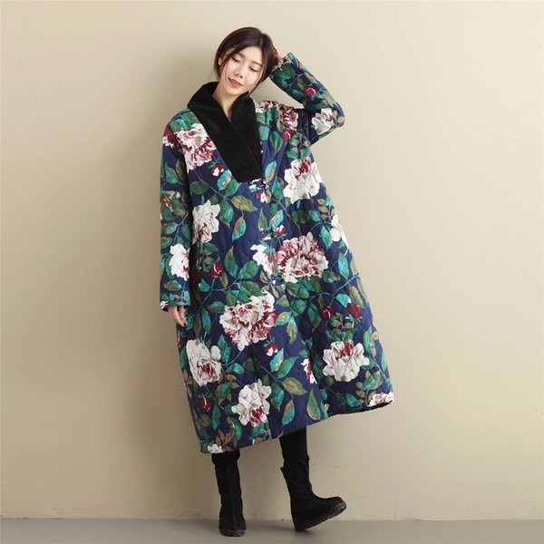 LZJN Plus Size Winter Jacket Women Thin Parka Loose Wadded Coat Chinese Windbreaker Floral Long Trenchcoat for Lady MF-58