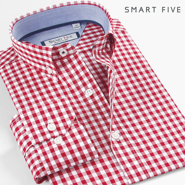smart five shirt men imported fashion chemise homme plaid casual shirts slim fit long sleeve camisa masculina 100% cotton, White;black