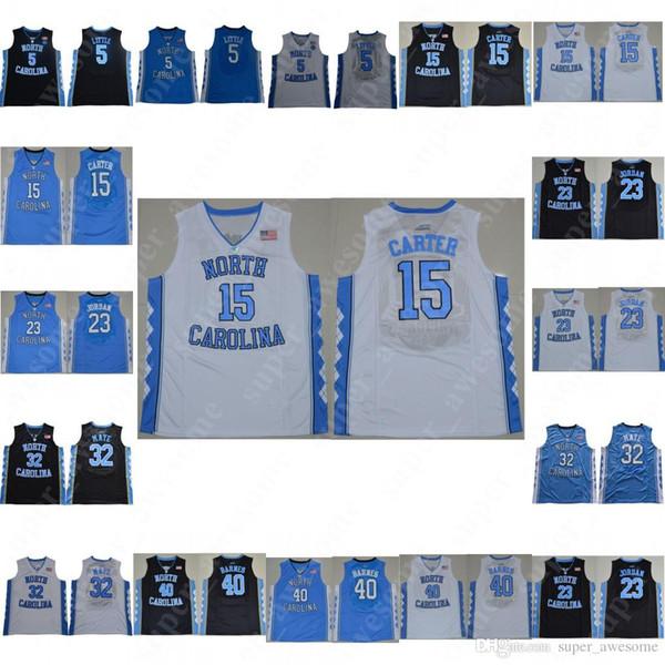Maillots Caroline du Nord Tar Heels Maillots de basket-ball de # 23 Michael 5 Nassir 15 Petit Vince Carter 32 Luke Maye 40 Jersey Barnes Blanc Noir Bl