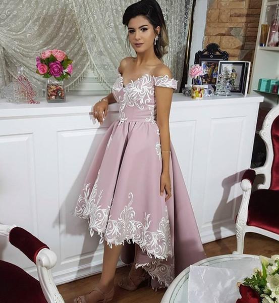 New Arrival hi low prom dresses off the shoulder appliques cocktail party dresses elegant plus size Formal Evening Gowns For Women 2019