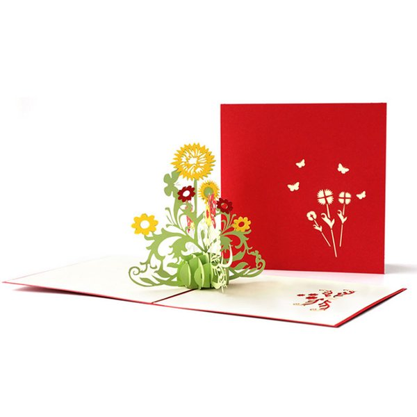 New 3d Pop Up Sunflower Flower Greeting Cards Christmas Birthday Happy New Year Invitation Card Christmas Birthday Card Christmas Birthday Cards From