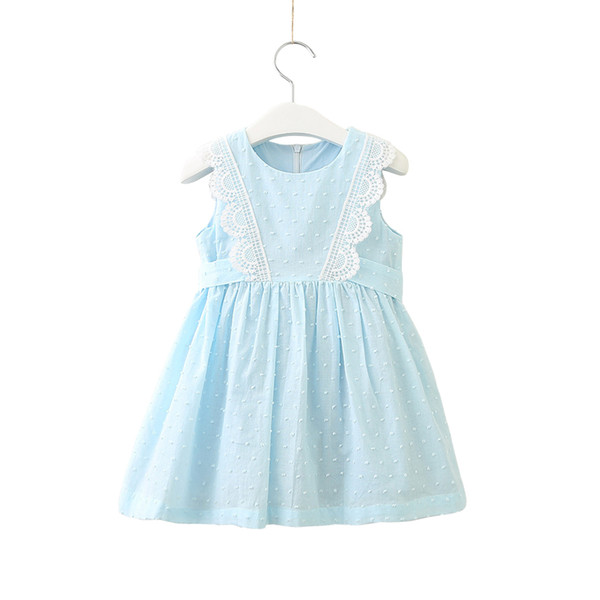 Lace Chiffon Sleeveless Dress Age For 2-10 Yrs Baby Girl Summer Clothes Cute Bow Princess Costume 2019 Spring Little Girls Frock MX190724