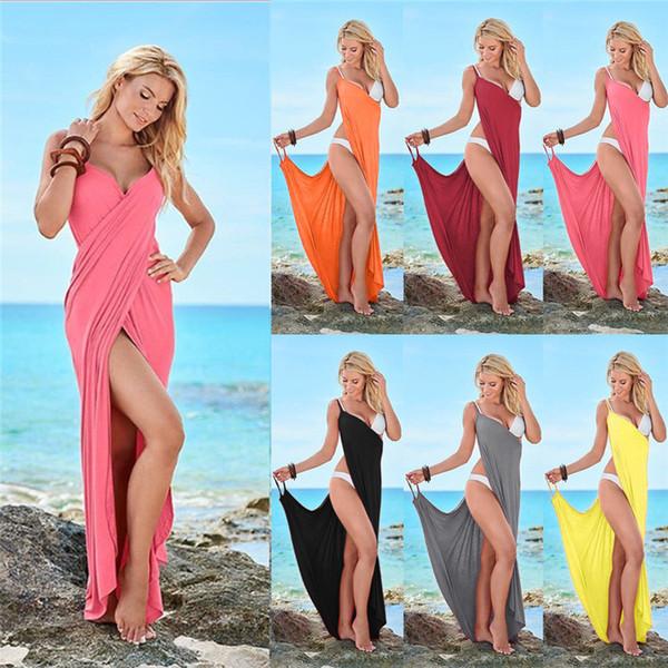 Moda Kadınlar Kayma Elbise Katı Renk Plaj Elbiseler Yaz Kolsuz Parantez Etek Seksi Gece Kulübü Elbise Parti Giyim S-5XL 8 Renkler 2019 C3295