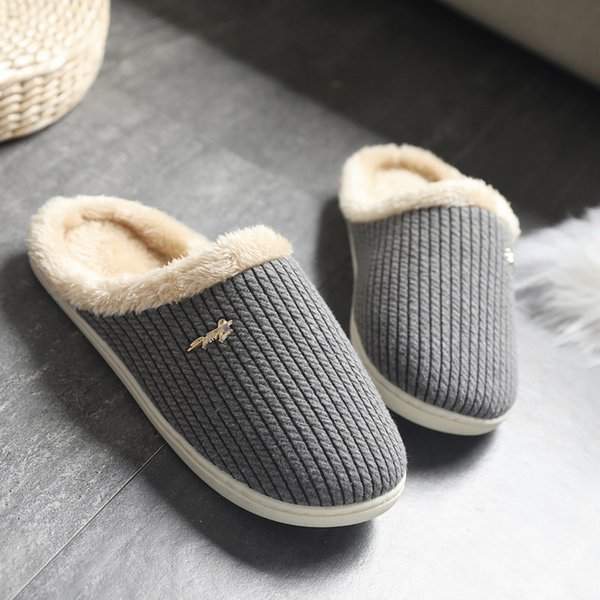 Cotton Slippers Women's Winter Home Men's Japanese Solid Color Version of The Simple Couple Plus Thick Anti-slip guest slippers