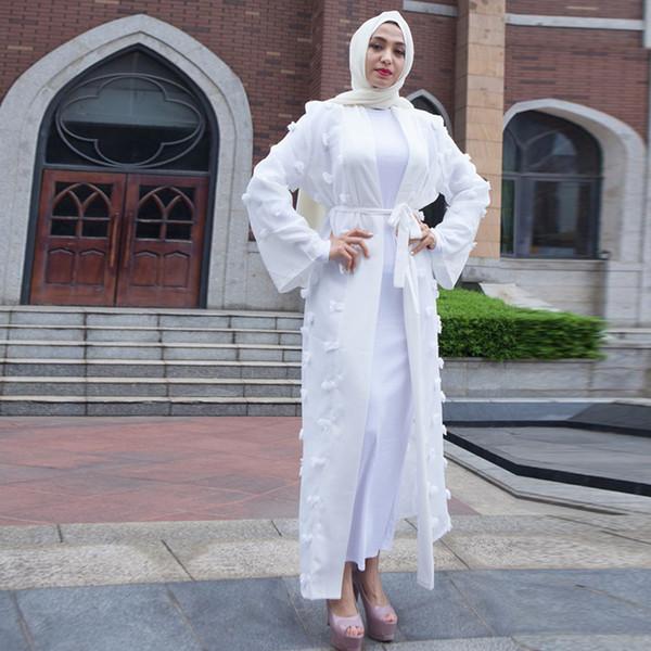 Buytiz Abaya Musulmán Kaftan Rosa Blanco Negro Elbise Malla de encaje Maxi Kimono Cardigan Blusa Dubai turco islámico ropa
