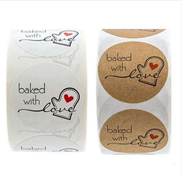 500 stücke / Rolle Mit Liebe Herz Handgemachte Kuchen Verpackung Dichtungsaufkleber Natürliche Kraft Aufkleber Backen DIY Geschenk Aufkleber # RN
