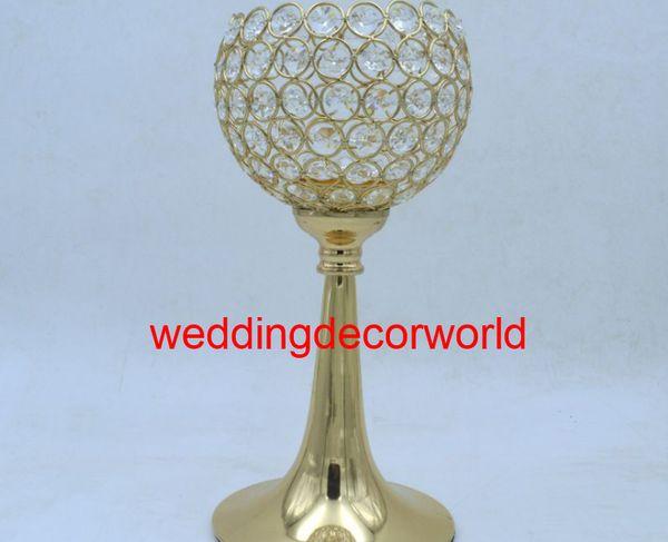 Nouveau style vente chaude or pièce maîtresse de haut cristal cylindre candélabre or pour les mariages decor0908