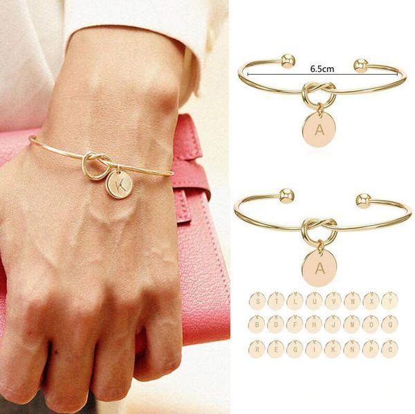 26 Harf Altın Gümüş Renk Knot Kalp Bileklik Bileklik Kız Moda Takı Kadınlar hediye Nedime hediye Alaşım Yuvarlak kolye Bilezikler