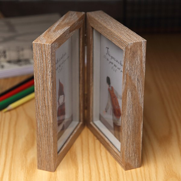 6inch Camera in legno a struttura iniziale doppio Picture Vetro anteriore Photo Frame Ombra Box verticale piedi incernierato decorazione dono fai da te